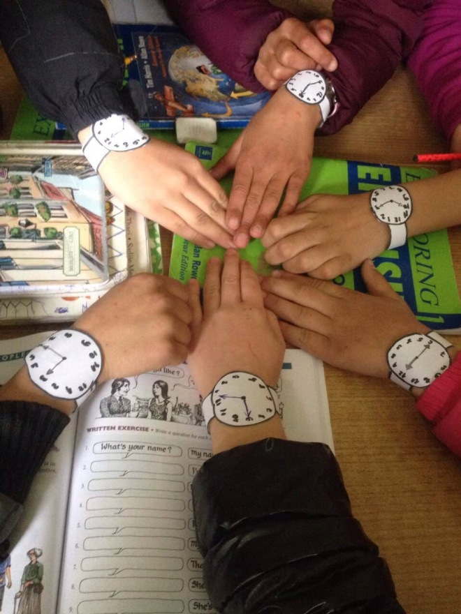 classroom game activity paper watches telling time