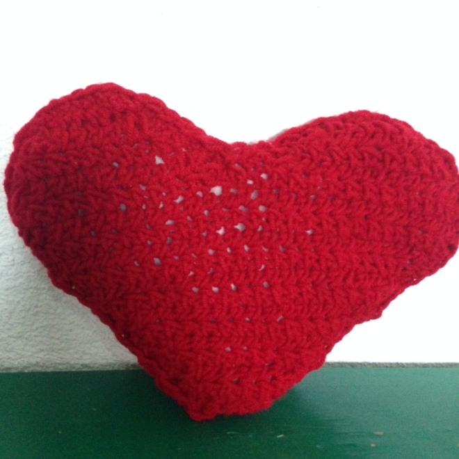 crocheted heart pillow