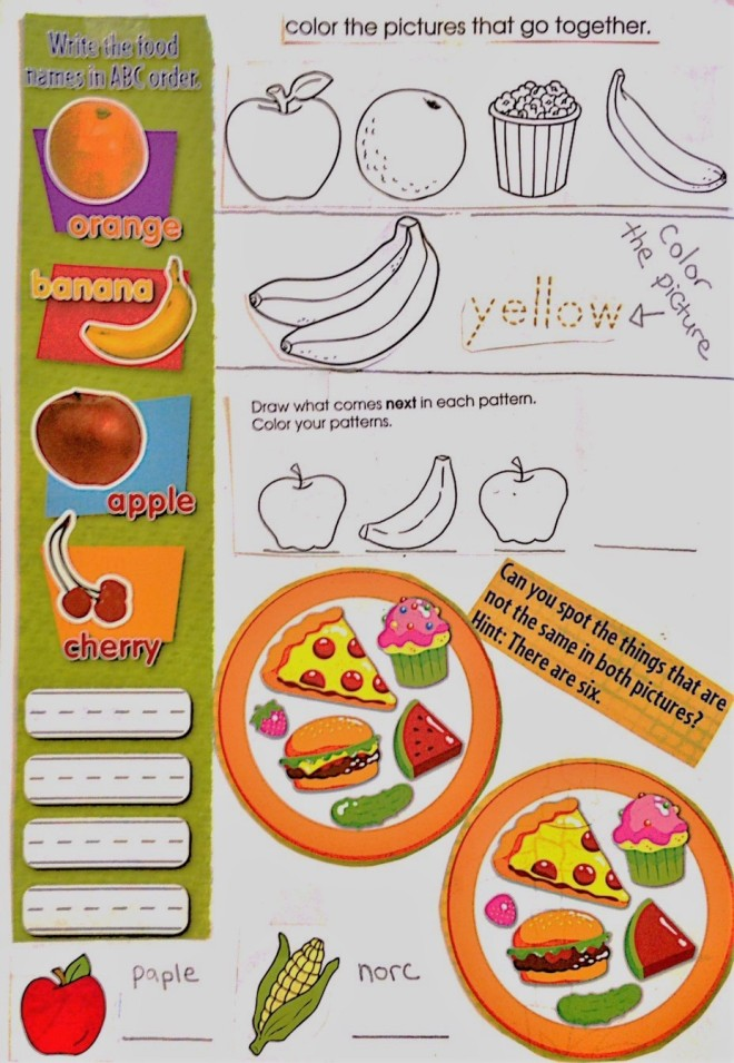 fruits and vegetables classroom worksheet