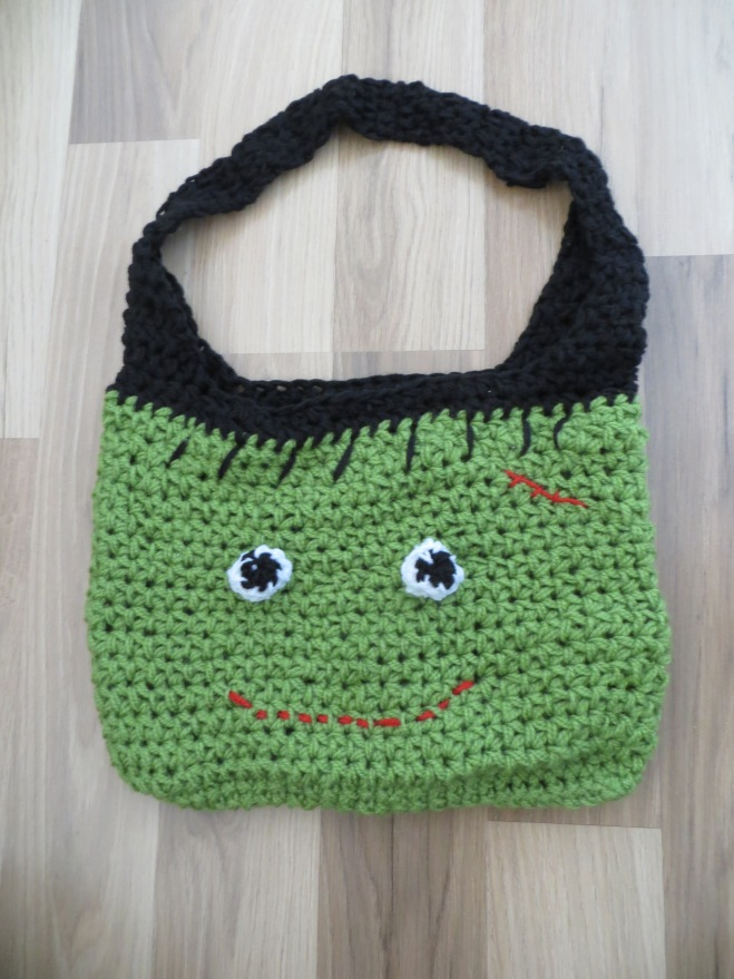 frankenstein crochet trick or treat bag