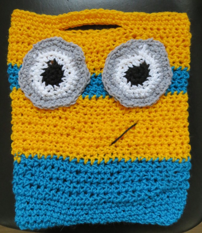 minion crochet kids trick or treat bag